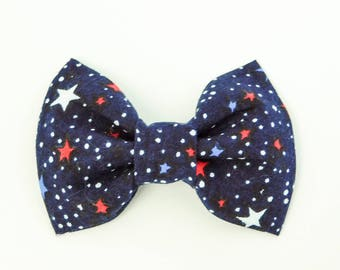 Navy Blue Stars 4th of July Independence Day Dog or Cat Collar Bow Tie
