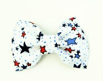 White Dog Bowtie Collar, 4th of July Dog Bowtie, 4th of July Dog Collar Flower, Cat Bow Tie