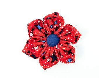 Red Stars 4th of July Independence Day Dog and Cat Collar Flower Bow