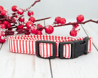 Red and White Dog Collar, Christmas Dog Collar, Christmas Cat Collar, Red Cat Collar, Stripe Dog Collar, Boy Dog Collar, Holiday Dog Collar