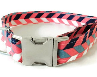 Pink and navy blue herringbone collar, pink herringbone dog collar, herringbone collar, metal buckle not included