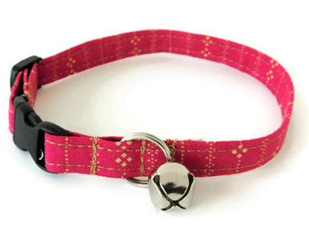 Pink and tan line collar, pink dog collar, striped cat collar, pink striped dog collar