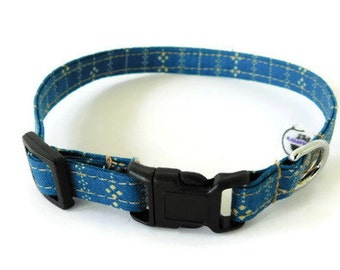 Blue and Tan Striped Dog Collar, Cat Collar