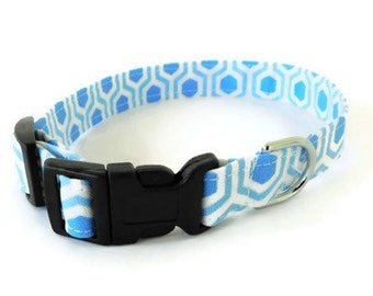 Blue Honeycomb Dog Collar, Cat Collar