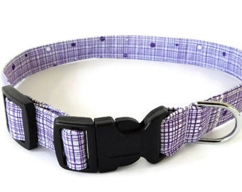 Purple dog collar, Lavender crosshatch collar, purple cat collar, crosshatch pet neckwear