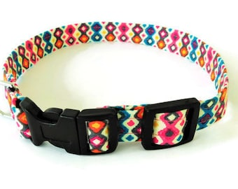 Geometric diamond design collar, multicolor dog collar, abstract collar