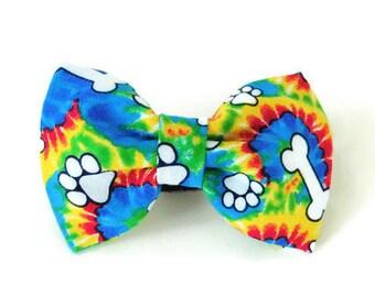 Tie dye dog bow tie, multicolor bow, dog collar flower, rainbow bow tie