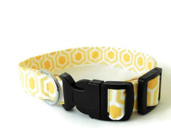 Yellow honeycomb collar, yellow dog collar, honeycomb cat collar, yellow and white collar
