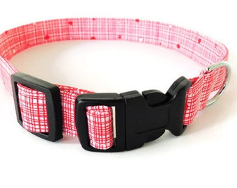 Red dog collar, red crosshatch collar, ruby red cat collar, candy red crosshatch pet neckwear