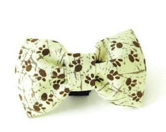 Paw print dog bow, Tan and brown bow tie, wild animal collar flower, cat paw print bow, dog flower