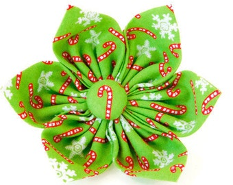 Green candy cane collar flower, holiday dog bow, green holiday flower, candy cane bow