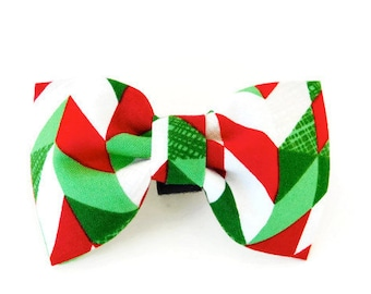 Red and Green Dog Bow Tie, Green Holiday Bow, Red Christmas Dog Bow Tie, Cat Christmas Bow, Christmas Collar Flower