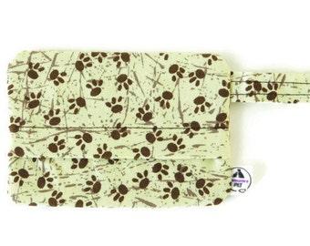 Paw print dog bag holder, Tan and brown poop bag holder, wild animal mess dispenser, waste bag holder, bag holder