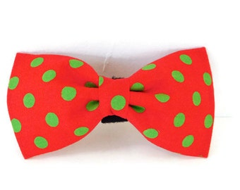 Red and green polka dot collar flower, green polka dot dog bow tie, red christmas cat bow tie, polka dot cat flower, holiday bow tie