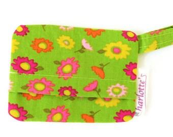 Green floral dog bag holder, green poop bag holder, floral dog mess dispenser, waste bag holder, bag holder