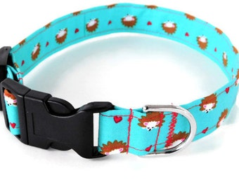 Blue Hedgehog Valentine's day Dog Collar, Blue Cat Collar