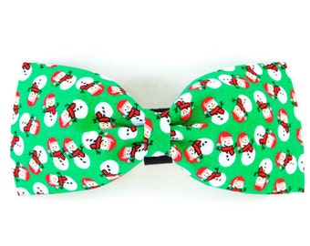 Green snowman collar flower, snowman dog bow tie, green holiday cat bow tie, snowman cat flower, green bow tie