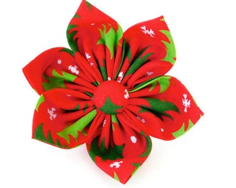Red Christmas tree dog bow tie, red tree collar flower, Holiday tree cat bow,
