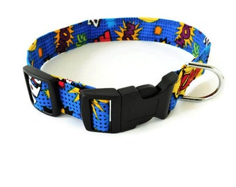 Blue Comic Superhero Dog Collar, Cat Collar