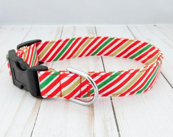 Candy Cane Stripe Dog Collar, Stripe Dog Collar, Christmas Dog Collar, Christmas Cat Collar, Red Dog Collar, Festive Dog Collar