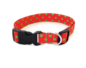 Red Polka Dot Dog Collar, Red and Green Dots Collar, Polka Dot Cat Collar, Christmas Dog Collar