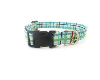 Green Plaid Dog Collar, Green Dog Collar, Boy Dog Collar, Green Cat Collar, Preppy Dog Collar