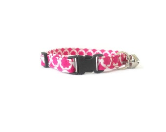 Small pink dog collar- pink flowers cat collar, small dog collar