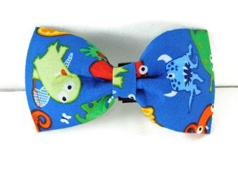 Blue monster bow tie, blue dog bow, monster collar flower, blue cat bow tie, monster bow