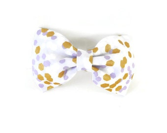 Purple and gold dog bow tie, lavender and gold polka dot bowtie, pet flower bow, purple polkadot collar flower, cat bowtie, gold polka dots