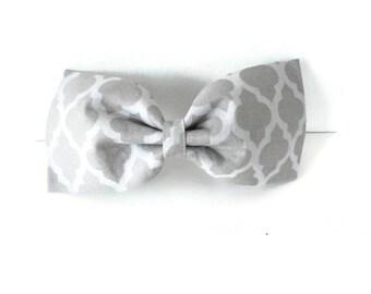 Grey gray quatrefoil dog bow tie, 2 tone grey quatrefoil bowtie, gray pet flower or bow, grey quatrefoil collar flower, cat bowtie