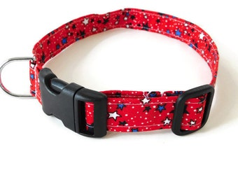 Red Stars 4th of July Independence Day Dog or Cat Collar