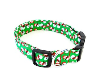 Green snowman collar, snowman dog collar, green christmas dog collar, winter cat collar, holiday collar