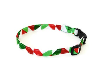 Red and green dog collar, red herringbone collar, holiday dog cat collar, christmas dog collar, chevron collar
