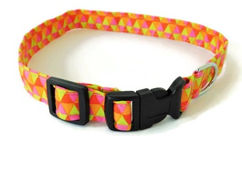 Multi-color dog collar, orange pink lime green collar, orange cat collar, triangle collar