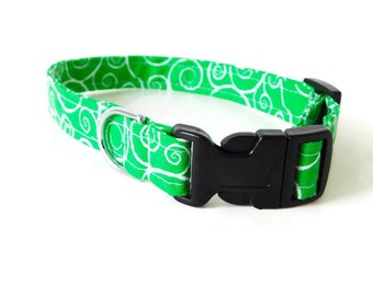Green swirl dog collar, light green collar, swirls cat collar, girl and boy green dog collar, collar flower, bow tie