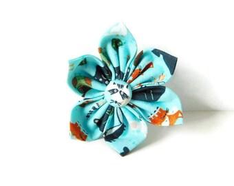 Blue wild animal dog flower / blue animal print collar flower / fox bow / wild animal dog bow tie / cat bow