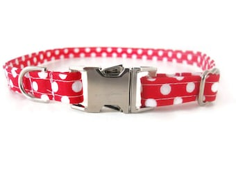 Red Polka Dot Dog Collar, Red Cat Collar, Red Polkadot Collar, Red Boy Dog Collar, Red Girl Collar