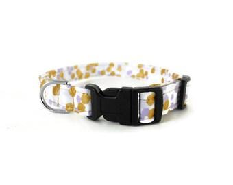 Purple and gold polka dot  dog collar, lavender polkadot dog collar, gold polka dots cat collar, spring dots collar, wedding dog collar