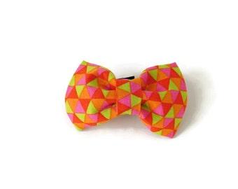 Multicolor Orange Geometric Dog Collar Bow Tie/Flower
