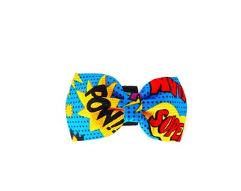 Blue Comic Superhero Dog Bow Tie/Collar Flower, Cat Bow Tie