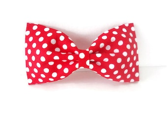 Red polkadot dog bow tie, red and white polka dot bowtie, red and white pet flower or bow, polkadot collar flower, red bowtie