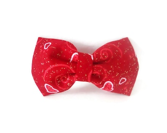 Red Valentine's Day Dog or Cat Collar Bow Tie with Swirls and Gold Glitter