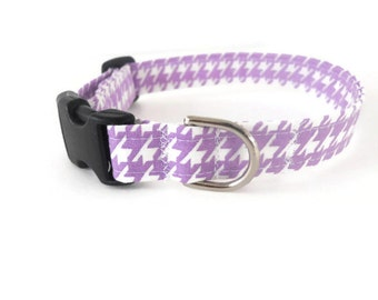Purple houndstooth dog collar, light purple and white dog collar, lavender pet collar, purple cat collar