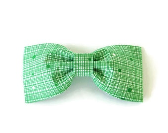 Green bow tie, green crosshatch bow, green dog bow tie, green collar flower, white and green cat bow