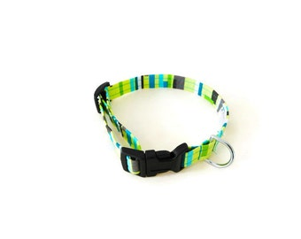 Green tile dog collar, green striped collar, multicolor collar, girl collar, lime green collar, blue teal lines collar