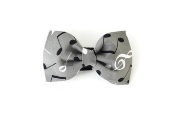 Grey music note bow tie, music note dog bow tie, gray cat bow, music bow tie,