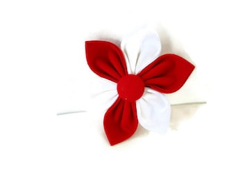 Red and white dog flower, red and white collar flower, team colors, school colors flower, girl dog bow, university color bow flower, cat bow