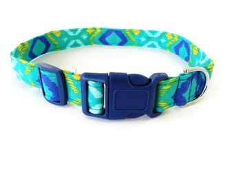 Green blue and yellow collar, tie dye dog collar,multicolor green cat collar, color buckle not included