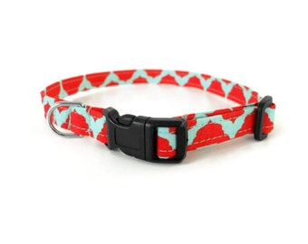 Red and Teal Dog Collar, Red Dog Collar, Red Cat Collar, Quatrefoil Dog Collar, Red Boy Dog Collar