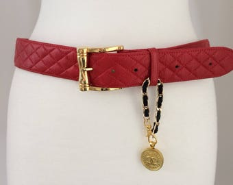 Red Quilted Belt with Repurposed Button Charm